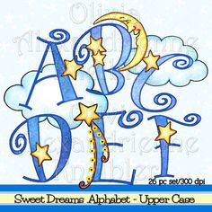 SALE Sweet Dreams Alphabet Upper Case Personal and by atelieroz
