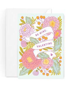 "Valentine's Day Card, ""Be Mine Valentine Banner"" by Paper Raven Co."