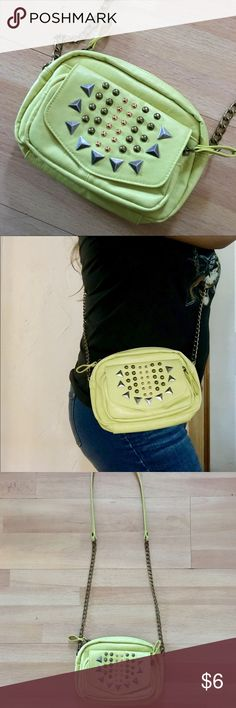 Small Spiked Yellow Crossbody Bag Used once. Great condition. Make me an offer, I'd love to accept it 😊 Bags Crossbody Bags