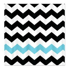 chevron shower curtain | ... Accessories & Décor > Black White Turquoise Chevron Shower Curtain