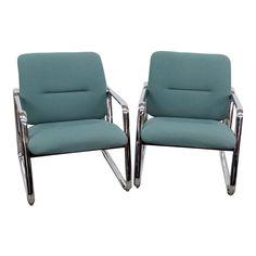 Mid-Century Modern Chrome Arm Chairs - a Pair