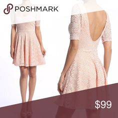 Spring Peach Lace Scoop Neck Dress Perfect for spring! A feminine lace body with cute, flirty details like the low scoop back and half sleeves, this dress is easily goes from day tonight. fairlygirly Dresses Mini