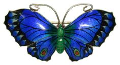 Art Deco Enamel Butterfly - Sterling Silver
