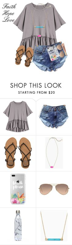 """""""(FAITH Hope Love)"""" by mckenna1 ❤ liked on Polyvore featuring Billabong, Kendra Scott, Ray-Ban, S'well, Kate Spade and vintage"""