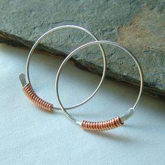 Sterling Silver Hoop Earrings Copper Wire Wrapped Hoops Large Mixed Metal Open Hoop Earrings, Choose Your Size