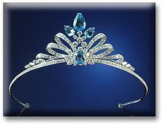 AQUAMARINE & DIAMOND TIARA, The double bow design set throughout with brilliant cut diamonds. (via Sotheby's)