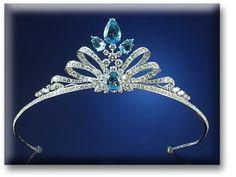 AQUAMARINE & DIAMOND TIARA, The double bow design set throughout with brilliant cut diamonds. (via Sotheby's)