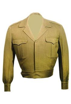 """Olive drab """"Eisenhower"""" U. Army Field jacket, worn by Dwight D. Eisenhower during World War II and was made sometime between 1944 and Kansas Historical Society, Military Dresses, Military Style Jackets, Military Jacket, Army Field Jacket, Dwight Eisenhower, Military Looks, Fitted Suit, Historical Society, Jacket Style"""