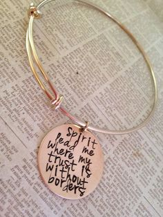 Hand stamped women's gold bronze or silver bangle by erinsmeltz