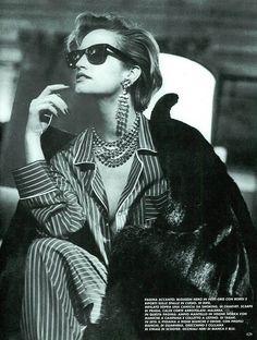 "80s-90s-supermodels: "" ""Pellicce: L'Imprevedibile Classica"", VOGUE Italia, September 1983 Photographer: Peter Lindbergh Model: Bonnie Berman """