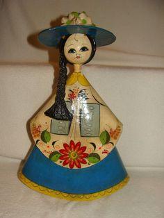 Folk Art Mexican Doll Paper Mache Woman Side Braid Hand Painted
