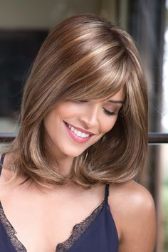 "Wig features: Monofilament Top Beautiful extra long bangs with manageable shoulder length sides and back. Wig with full monofilament crown for a more realistic part. Length: Fringe 5.15"" - 7.1"", Crown 10.65"", Nape 8.65"" Weight: 4.8 oz Cap Size: Average Color Shown: Copper Glaze, Mochaccino-R Wig Colors: Cappucino, Cho"