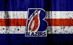 Download wallpapers Kamloops Blazers, 4k, grunge, WHL, hockey, art, Canada, logo, stone texture, Western Hockey League