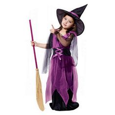 2017 New Halloween Costumes Witch Dress For Girl With Hat Cap Party Cosplay Dress Clothing Kids Girl Cartoon Performance Dress