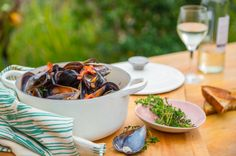 Mussels with White Wine, Bacon and Mustard - Sarah Graham Food Graham Recipe, Cooking Time, Cooking Recipes, Mussels White Wine, Sarah Graham, Bacon Pasta, Iranian Food, Molecular Gastronomy, Food Presentation