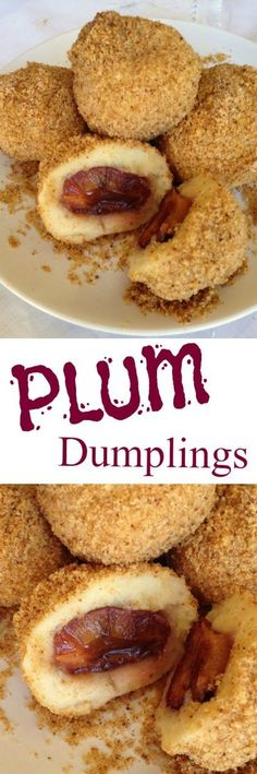 It can be eaten as dessert, a meatless main dish or side dish. A family favourit and children's delight. Potato dumplings stuffed with plums & cinnamon sugar and rolled in breadcrumbs. Hungarian Desserts, Hungarian Cuisine, Hungarian Recipes, Hungarian Food, Hungarian Cookies, Romanian Desserts, Plum Recipes, Sweet Recipes, Holiday Recipes