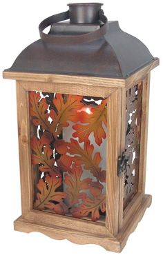 Rustic Metal Fall Leaves Table Lantern. Holds two sizes of pillar candles. Beautiful porch or home autumn decor. #fall #lantern #thanksgiving #ad