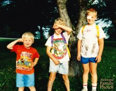 """It was the first day of school in 1989. Dan had an incident blowing up his bike tire and had to wear an eye patch, Andy is all kinds of nervous, and Joe is proudly saluting in wet pants."" *AFP Hall Of Fame* «AwkwardFamilyPhotos.com"
