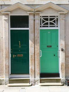 Two green doors. St John's Street, Oxford.