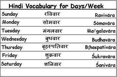 Hindi Vocabulary Words for Days of the Week - Learn Hindi