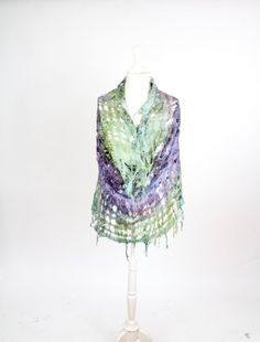 felted scarf felt scarf  wool silk snood eternity scrarf cowl moss green and violet khaki