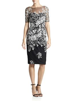 Badgley Mischka. Tulle-yoke floral knit dress, $430, Badgley Mischka available at Saks Fifth Avenue