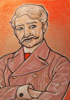 Original Drawing 1900s Man with Mustache by silentmagician on Etsy, $20.00