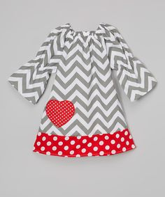 Look at this Miss Fancy Pants Gray & White Chevron Heart Dress - Infant, Toddler & Girls on #zulily today!