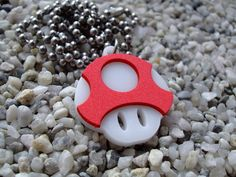 Super Mario Power Mushroom inspired laser cut acrylic pendant necklace