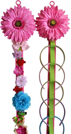 Handmade matching headband and hair clip holder. The holders are crafted using high quality grosgrain ribbon. The headband holder features 10
