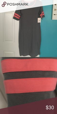 Julia-Lularoe NWT This pretty Julia needs a good home! Ordered it and it was too long. Never got the time to shorten it. It's too nice to be sitting in my closet . The gray can look army green in certain lighting LuLaRoe Dresses Midi