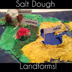 Salt dough landforms project! Mix 2 cups flour, 1 cup salt and 3/4 cup water. (Add a little water at a time). This should make a very thick dough. Add more flour if needed. After shaping landforms, allow to dry for a day or two before painting.