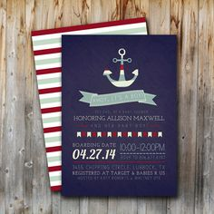 Nautical Baby Shower Invitation, Printable, Ahoy It's a Boy, Sailor, Digital File, Baby Boy, Navy and Red, 5x7 on Etsy, $15.00