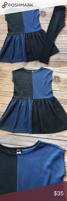 NWT Tea Collection Brand new, with tags still attached Tea Collection leggings and tunic. Size 7. Navy blue leggings. Navy blue and blue top. 100% cotton and super soft and comfy. No flaws. Never worn. Tea Collection Matching Sets
