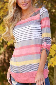 Random Stripe Pattern Round Neck Curved Hem Shirt -YOINS