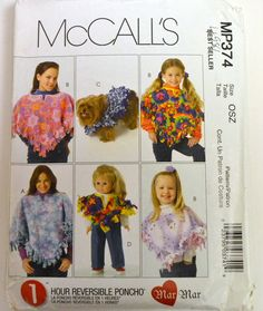 Sewing Pattern McCall's MP 374 1 Hour Reversible Poncho Complete Uncut One size by GoofingOffSewing on Etsy