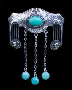 This is not contemporary - image from a gallery of vintage and/or antique objects. DARMSTADT Jugendstil Brooch Silver Amazonite