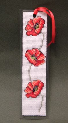 Cross Stitch Pattern, Red Poppy Bookmark, by Ogusstudio on