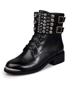 Black Front Metal Rivets Studded Chunky Heel Martin Boots, Black, NAIQIER | VIPme