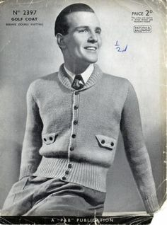 Vintage 1930's-1940's Men's Knitting Pattern for Golf Coat , original, not copy