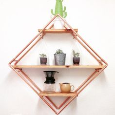 We are obsessed with this custom built and designed copper pipe shelf. We are obsessed Copper Wood, Copper Decor, Copper Art, Copper Pipes, Copper Pipe Shelves, Wood Shelves, Copper Furniture, Pipe Furniture, Furniture Design