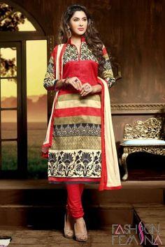 Red & Beige Art Silk Bhagalpuri Salwar Suit #casualsuit #salwarsuit #printedsalwarssuit #salwarkameez