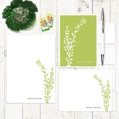 complete personalized stationery set - LEAFY STEM - personalized stationary set - note cards - notepad - choose color by naomilynn on Etsy https://www.etsy.com/listing/165796372/complete-personalized-stationery-set