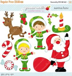 ON SALE Santas Here Cute Digital Clipart by JWIllustrations