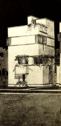 """danismm: """"Small Town Hall (1912-1913). Drawing from Frank Lloyd Wright's book """"Modern Architecture"""" (1931) via Leo Boudreau """""""