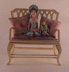 Doll & Teddy Bear on Settee by Gale Elana Bantock - $1,250.00 : Swan House Miniatures, Artisan Miniatures for Dollhouses and Roomboxes