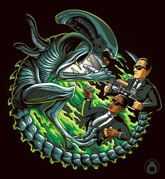 Agent J and Agent K shoot the Alien