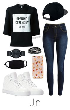 """""""Airport with Jin ✈️"""" by ari2sk ❤ liked on Polyvore featuring NIKE, Opening Ceremony, adidas, Movado and Forever 21"""