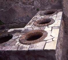 Pompeii - wine vats.  They had outdoor fiestas where they served wine in large bowls