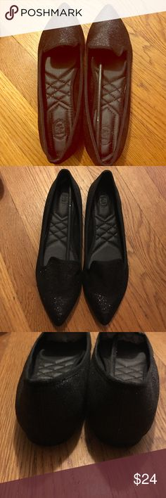 Black Sparkly Pointy Flat Loafers Brand new w/o box 7.5 Comfy BLK sparkle Flats Ollio Shoes Flats & Loafers